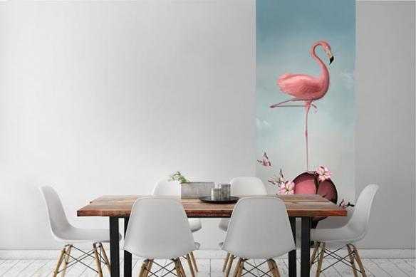 Papier peint flamant rose en équilibre