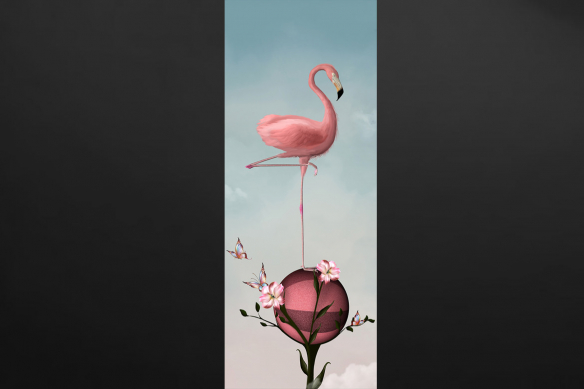 papier peint flamant rose lé unique