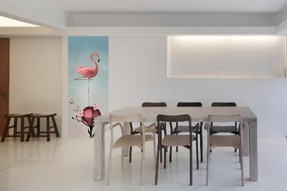 Papier peint flamant-rose-equilibre-salle-a-manger