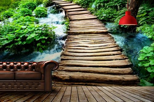 Papier peint jungle Rivière naturelle