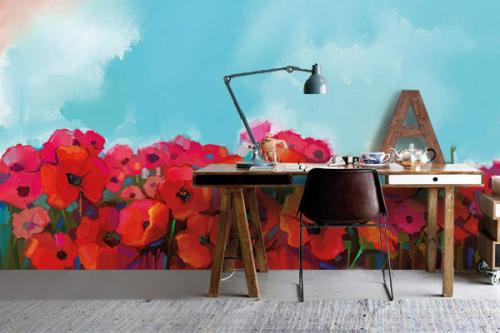 papier-peint-fleuri-coquelicots-pour-bureau