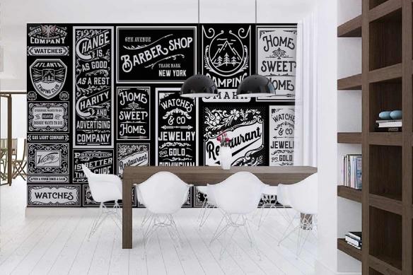 papier-peint-cuisine-style-industriel-enseignes vintages