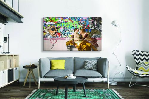 tableau art moderne amoureux graffiti izoa