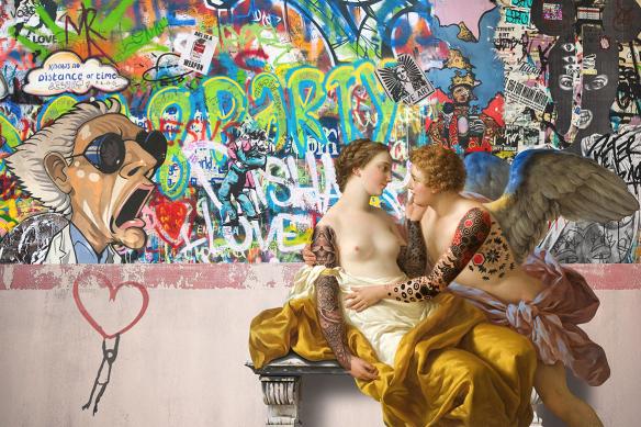 tableau street art amoureux graffiti