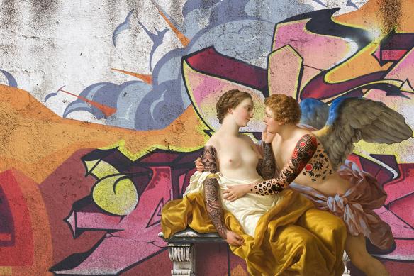 toile originale amoureux graffiti tag