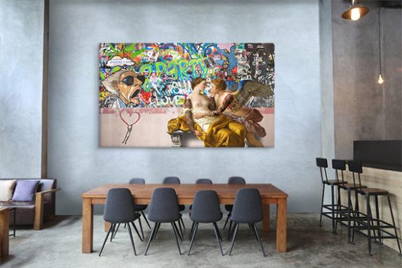 décoration restaurant original amoureux graffiti