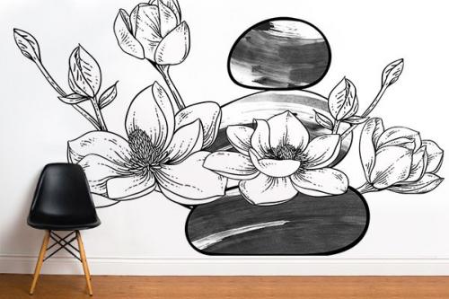 Papier peint fleuri Magnolia sur caillou