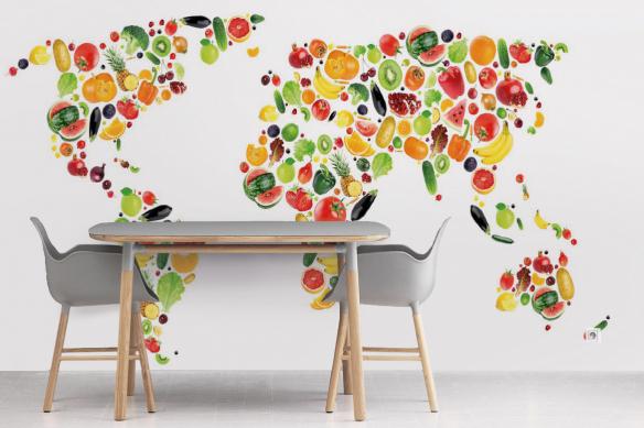 Papier peint cuisine Carte du monde en Fruits