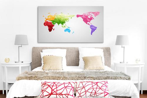 Tableau carte du monde Arc en ciel