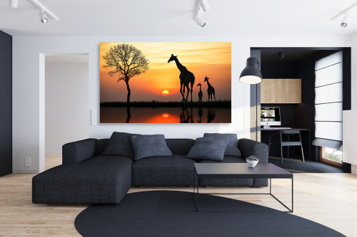 Tableau africain Girafes du Serengeti