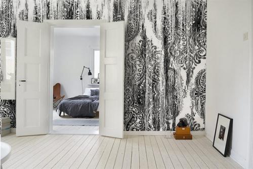 Papier peint baroque noir et blanc