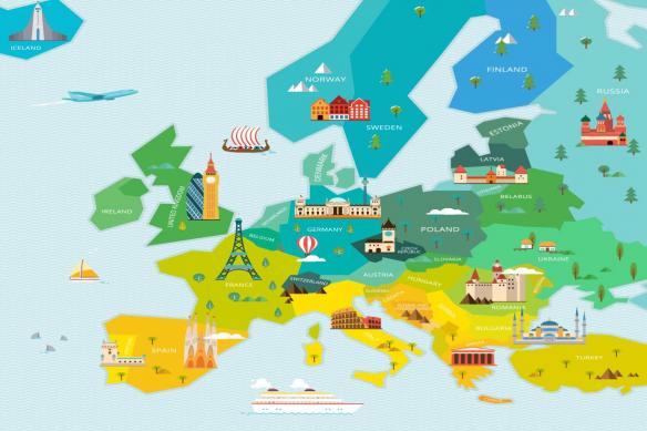 papier peint carte du monde europe