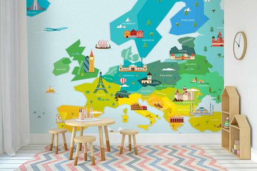 papier peint panoramique pour enfant carte du monde europe