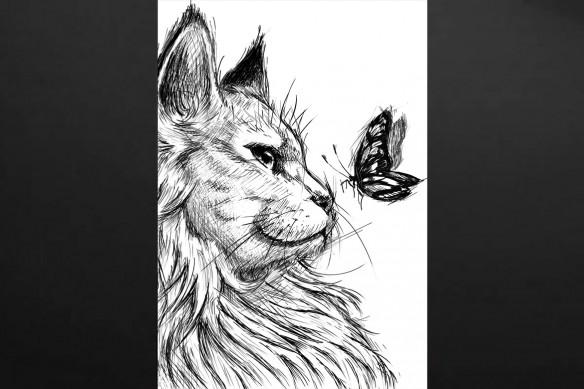 tableau chat et papillon noir et blanc