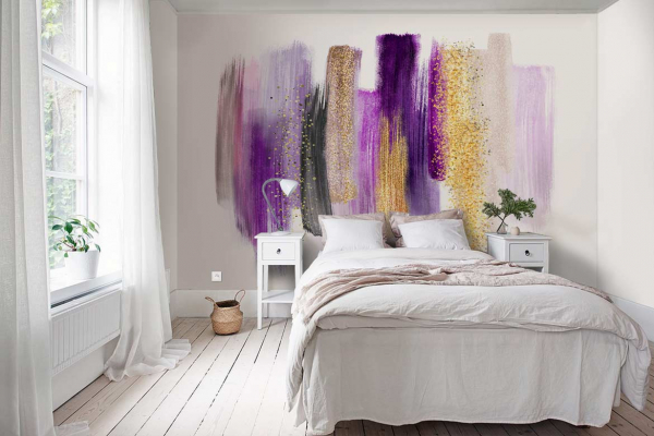 Décoration murale chambre Violet et paillettes