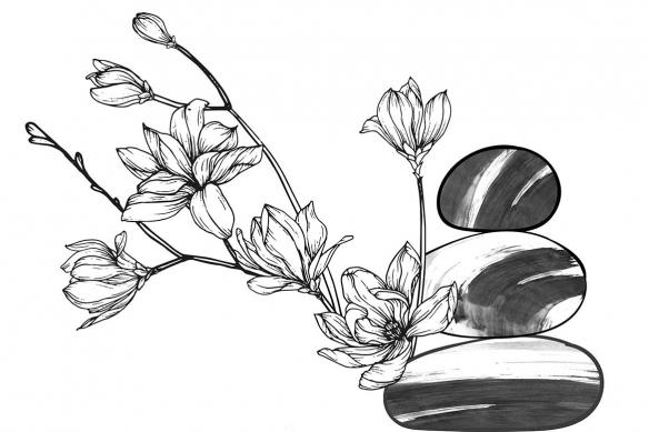 tapisserie-fleuri-noir-et-blanche