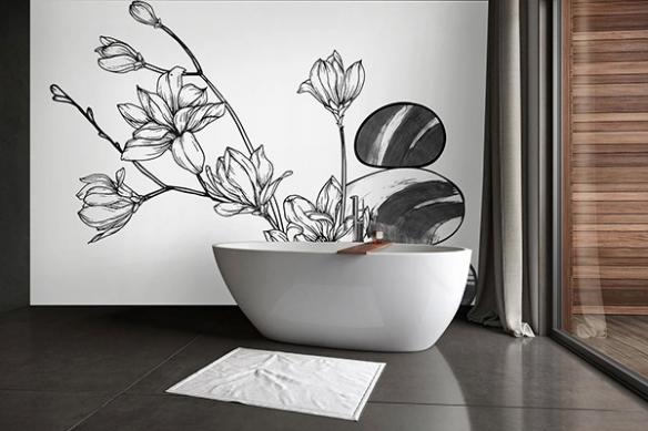 Papier peint noir et blanc Douce élégance