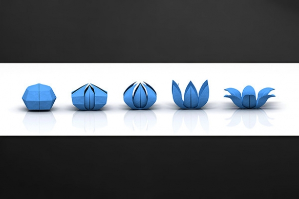 credence vinyle origami bleu