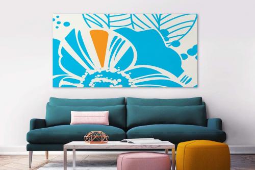 Toile murale bleue Bourrache