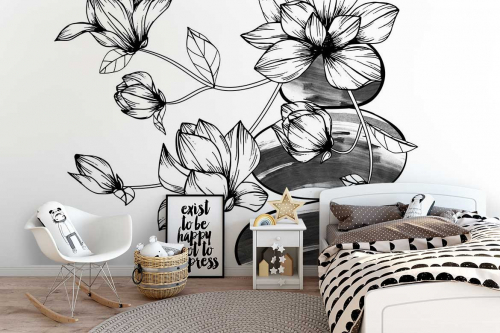 Papier peint fleuri pour chambre Orchidées sur cailloux
