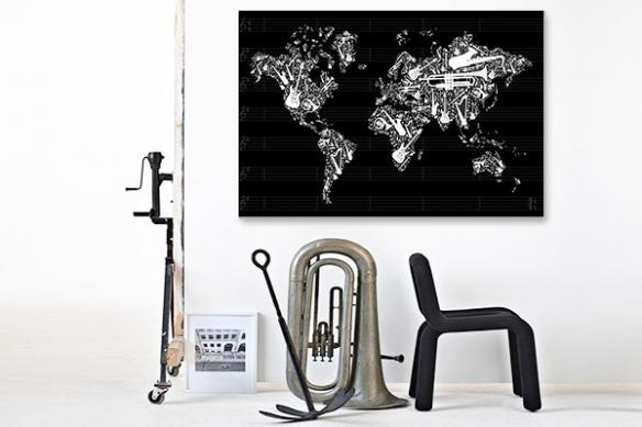 Tableau carte du monde noir et blanc Instruments de musique