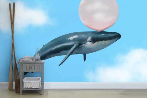 Papier peint nuage Baleine à gum