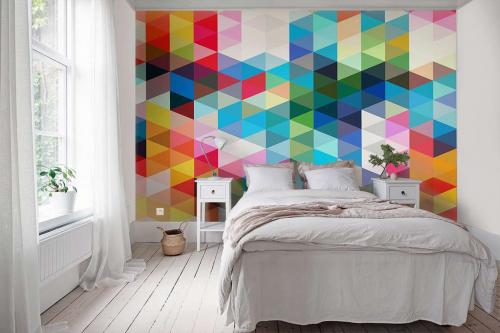 Papier peint motif géométrique Triangles couleurs