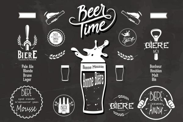 Tableau Cuisine Vintage Beer Time Tableau Noir Et Blanc Retro