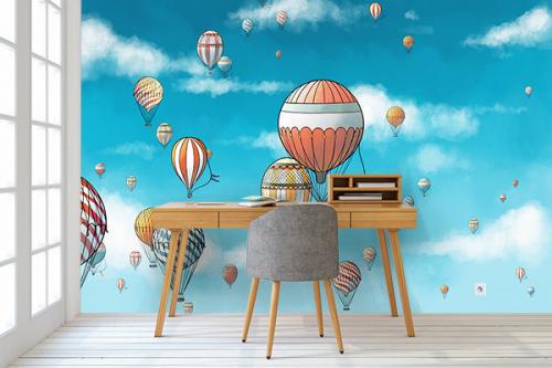 Papier peint tendance montgolfiere en vol