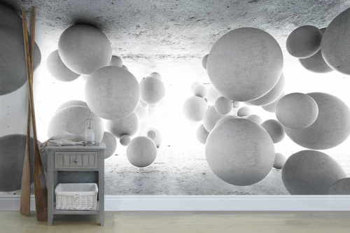 Papierpeint gris boules 3d