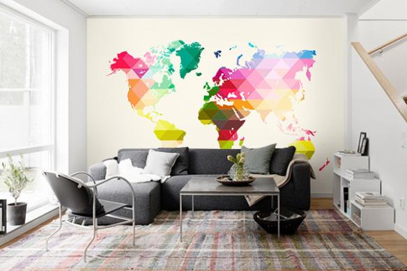 papier peint salon carte du monde losanges multi couleurs