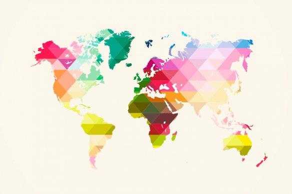 papier peint carte du monde losanges multi couleurs