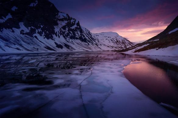 tableau sur toile paysage fjord
