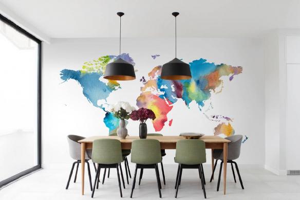 Papier peint carte du monde Buvard et encre