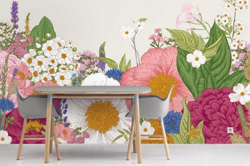 Papier peint fleuri Samisha