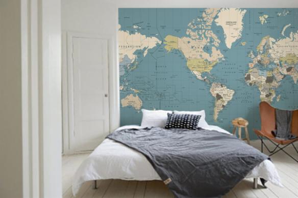 Papier peint carte du monde bleu vert gris