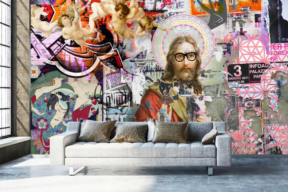 Papier peint panoramique street art jesus graffiti graphique