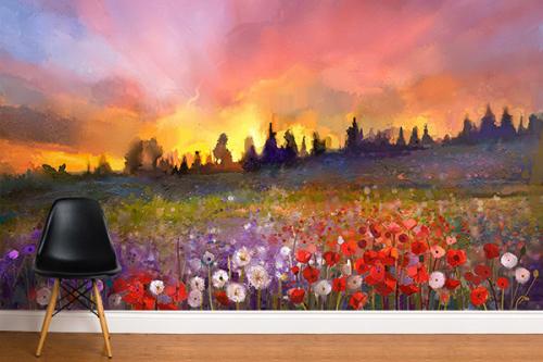 Papier peint fleuri Prairie au printemps