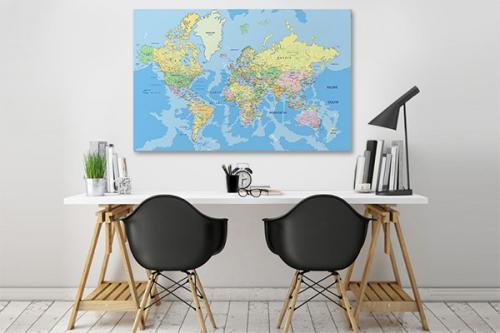 Tableau carte du monde bleue