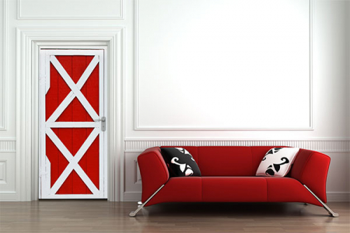 Sticker porte scandinave rouge et blanche