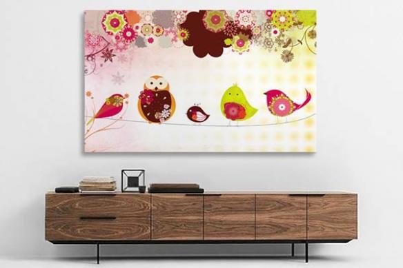 Tableau géant panoramique oiseaux sur fils