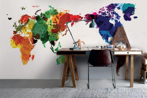 Papier peint carte du monde Tâches de couleurs
