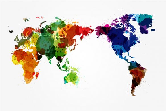papier peint panoramique mappemonde taches couleurs