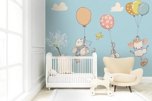Papier peint panoramique enfant Famille Souris