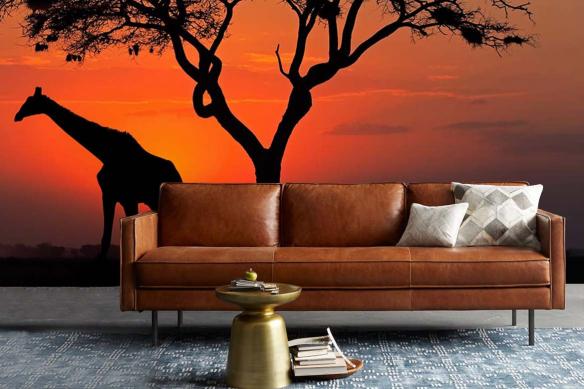 Papier peint africain pour salon Girafe crépuscule