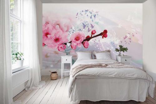 Papier peint panoramique chambre Rêverie sous les pruniers
