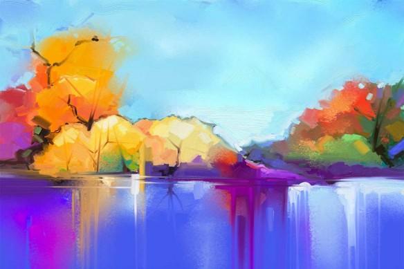 toile-zen-arbres-bord-du-lac