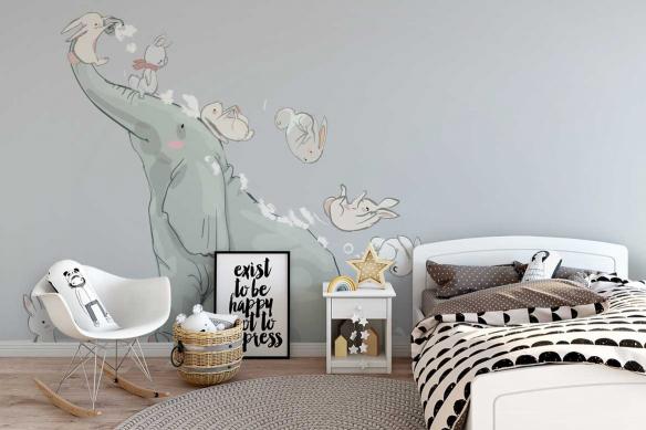 Papier peint chambre enfant Glissade sur éléphant