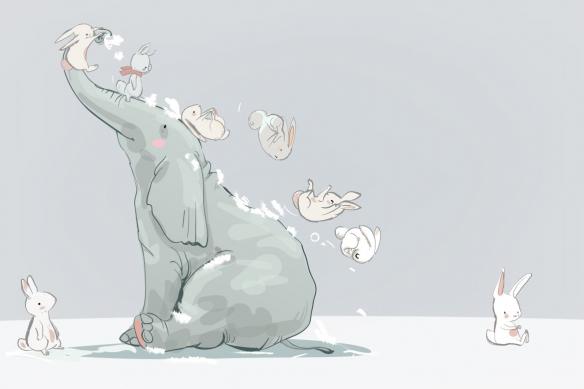 tapisserie chambre enfant glissade éléphant