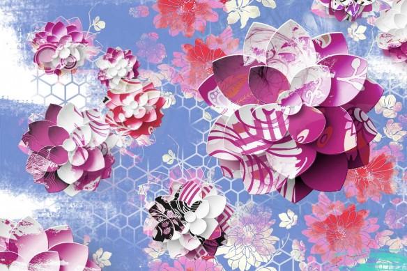 papier peint fleuri Lotus Graphique violet